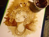 صحافة المواطن..  قارئة  تشارك بصور لأعمالها الفنية مرسومة بالقهوة والكركدية والشاى