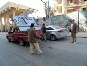 إزالة 78 إعلانا بدون ترخيص من شوارع مدينة بنى سويف وصيانة كشافات الإنارة