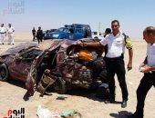 بالصور.. مصرع شخص وإصابة 8 آخرين فى انقلاب سيارة بجنوب سيناء