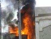 حريق كشك كهرباء فى إحدى القرى أوسيم بالجيزة