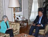وزير الخارجية يستقبل مدير اليونسكو لبحث دعم ترشحها بالأمم المتحدة