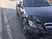 توقف حركة المرور أعلى الطريق الإقليمى بالعياط بسبب حادث تصادم سيارتين