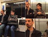 """شاهد.. """"شبيه"""" إبراهيموفيتش المكتئب فى أحد قطارات المترو"""