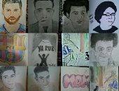 قارئ يشارك بلوحات فنية تظهر موهبته فى الرسم لنجوم الكرة والفن