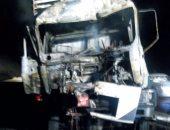 تكدس مرورى أعلى دائرى الخصوص بسبب حريق سيارة وقود بطريق مسطرد
