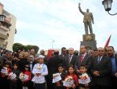 بالصور.. بورسعيد تزيل الستار عن نصب تذكارى لجمال عبد الناصر فى عيد المحافظة القومى