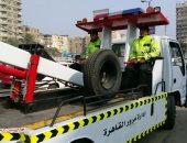 نشر أوناش المرور بمحور أحمد عرابى بالمهندسين لمنع الزحام المرورى