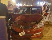 إصابة أمين شرطة ومجند وسيدة إثر تصادم سيارتى ملاكى وشرطة بالطريق الدائرى