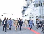 """بالصور.. الرئيس السيسي يرفع العلم المصرى على حاملة المروحيات """"جمال عبدالناصر"""""""