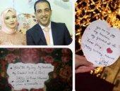 """بالصور.. """"أنت فرحى وكنزى"""" رسالة حب من جهاد لخطيبها تطوف 23 مدينة حول العالم لتهنئته بعيد ميلاده.. أصدقاء من دول العالم دونوها بخط اليد لإسعاده.. والمفاجأة استغرقت 10 أيام للتحضير"""