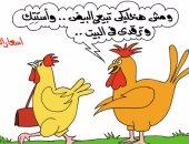بعد ارتفاع سعر البيض الفراخ هتتستت وترقد فى البيت بكاريكاتير اليوم السابع
