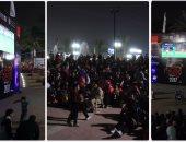 الجماهير المصرية تشاهد مباراة المنتخب الوطنى أمام مالى بمركز شباب الجزيرة