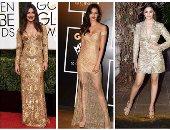 """بالصور.. نجمات """"بوليوود"""" يعدن الفساتين الذهبية لعالم الموضة"""