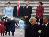 """من الترحيب إلى الوداع.. صور ترسم ملامح """"اللقاء الأخير"""" بين باراك أوباما و دونالد ترامب ليلة التنصيب.. المراسم استمرت لمدة 120 دقيقة تخللها الخطاب الأول للرئيس الأمريكى الجديد.. وانتهت على سلم الطائرة"""