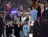 """بالصور.. """"آل ترامب"""" يدخلون """"البيت الأبيض"""".. الرئيس الأمريكى الجديد ينزل من سيارته لمصافحة المواطنين.. ويوجه التحيه العسكرية للمشاركين فى العرض العسكرى.. والاحتجاجات الرافضة لتنصيب دونالد تتوالى"""