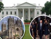 """""""ترامب"""" يتجاهل هتافات المحتجين ويسمع """"كلام الله"""".. بالفيديو: التوراة والإنجيل والقرآن يتقاسمون """"صلاة التنصيب"""".. 25 رمزا دينيا يلتقون فى تقليد بدأه جورج واشنطن 1789.. والرئيس يخرج من الكاتدرائية لـ""""CIA"""""""