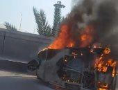 """مصرع سائق """"توك توك"""" اشتعلت به النيران بسبب ماس كهربائى فى الجيزة"""