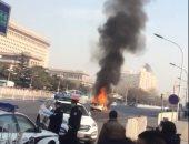 """بالفيديو.. اشتعال النيران فى سيارة وانقلاب أخرى بـ""""ميدان الحرية"""" ببكين"""