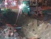 كسر بماسورة مياه يغرق الشوارع بمنطقة عين شمس