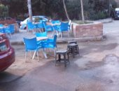 بالصور ..شكاوى من تعديات المقاهى فى مساكن شيراتون على الشوارع