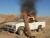 الجيش الثالث الميدانى يدمر سيارتين مفخختين و15 عشة للإرهابيين بسيناء