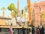 بدء عملية رفع وإنزال تمثال رمسيس إلى حديقة المتحف المصرى
