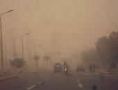 عاصفة ترابية شديدة تضرب طرق العين السخنة والقطامية فى السويس