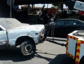أوناش المرور ترفع حطام حادث تصادم سيارتين نقل بوصلة دهشور فى أكتوبر