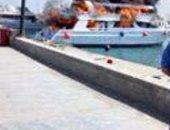 غرق مركب نزهة بحرية بعد حريقها فى العين السخنة