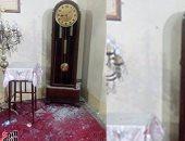"""بالصور.. ساعة الكنيسة """"المتوقفة"""" شاهدة على لحظة الانفجار بطنطا"""