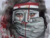 مصر الحزينة..لوحة للفنانة مى معبرة عن الوضع بعد الأحداث الإرهابية
