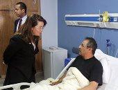 غادة والى تزور مستشفى الشرطة للاطمئنان على مصابى العمليات الإرهابية