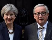 """بالصور.. """"يونكر"""" و""""ماى"""" يبحثان خروج بريطانيا من الاتحاد الأوروبى"""
