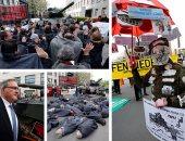 """الألمان يفترشون الشوارع احتجاجا على تصدير برلين دبابات لـ""""تركيا"""""""