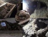 بالفيديو.. لقطات حصرية من داخل المقبرة الأثرية المكتشفة بتونة الجبل فى المنيا