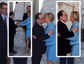 "بالصور..وداع حار بين فرانسو هولاند و زوجة "" ماكرون """