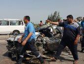 بالصور ..مصرع شخص وإصابة ثلاثة بإصابات متفرقة فى حادث تصادم بكفر الشيخ