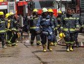 بالصور.. فتح الطرق المؤدية لحريق مبنى تأمينات وسط البلد بعد السيطرة عليه