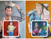 """زعماء العالم """"لاجئون"""" فى لوحات مبتكرة لفنان سورى"""