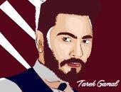 بالصور.. طالب يبدع رسومات فنية لتامر حسنى ومحمد صلاح