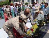 محافظ المنوفية ومدير الأمن يضعان إكليل زهور على النصب التذكارى للجندى المجهول