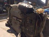زحام مرورى إثر سقوط سيارة من أعلى كوبرى ناهيا بشارع السودان