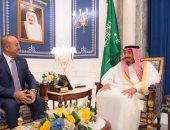 بالصور.. الملك سلمان يبحث مع وزير الخارجية التركى الأزمة الخليجية