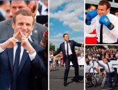 """بالصور..  """"ماكرون"""" يلعب التنس والملاكمة لدعم بلاده لاستضافة أولمبياد 2024"""
