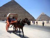 بالصور.. إقبال المصريين والأجانب على الأهرامات وأبو الهول فى ثانى أيام العيد