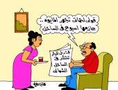 """""""انتشار قناديل البحر بالساحل الشمالى"""".. فى كاريكاتير """"اليوم السابع"""""""