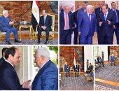 السيسي لأبو مازن: نسعى للتوصل لحل عادل يضمن حق الفلسطينيين فى دولة مستقلة