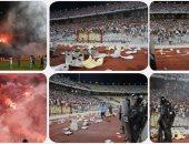 """جماهير الزمالك الغاضبة تحطم مدرجات """"برج العرب """" بعد الخروج من بطولة أفريقيا"""