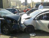 إصابة سائق و3 أشخاص فى تصادم سيارتين على كوبرى النيل ببنى سويف