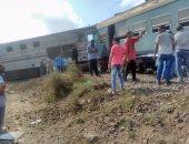 وصول فريق من النيابة العامة لمعاينة موقع حادث تصادم قطارى الإسكندرية